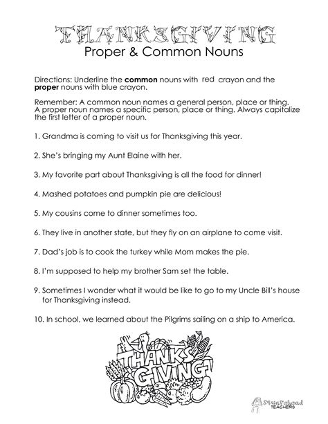 noun worksheets year 7 thanksgiving common proper nouns worksheet squarehead teachers