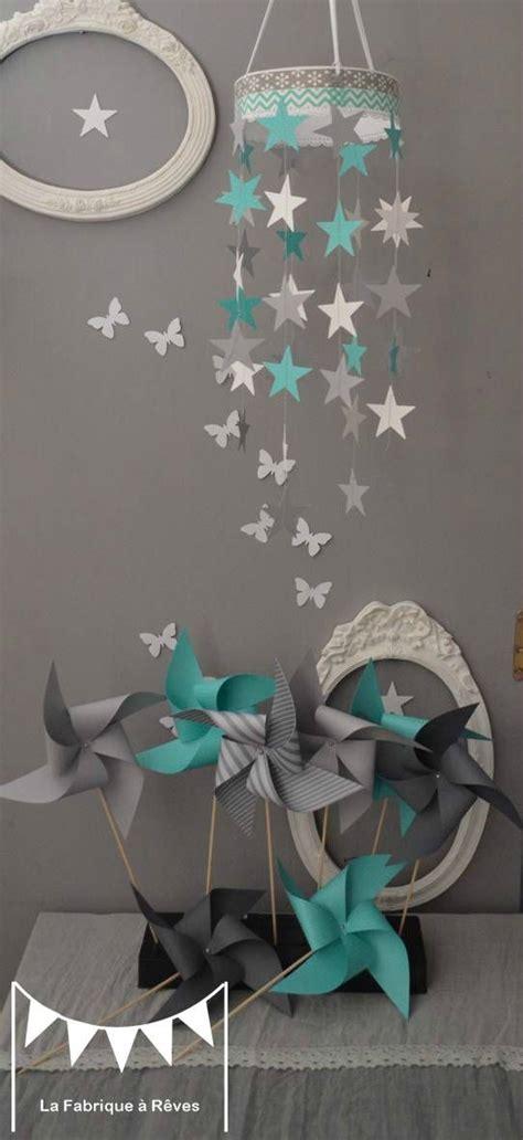 deco chambre turquoise mobile étoiles turquoise blanc gris décoration chambre