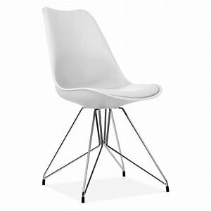 eames inspired white dining chair with geometric legs With salle À manger contemporaineavec chaise metal salle a manger