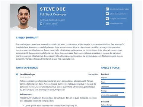 Bootstrap Template Curriculum Vitae Free by Pillar Free Bootstrap 4 Resume Cv Theme For Developers