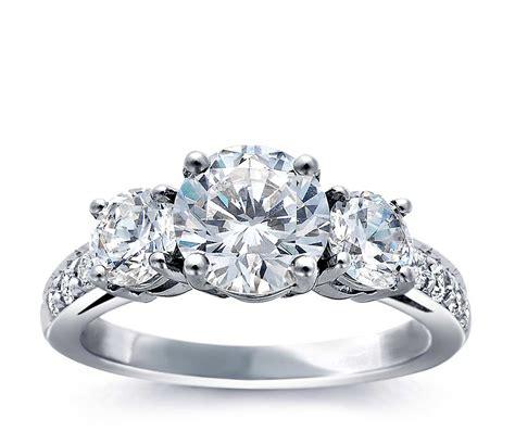 three stone pav 233 diamond engagement ring in platinum blue nile