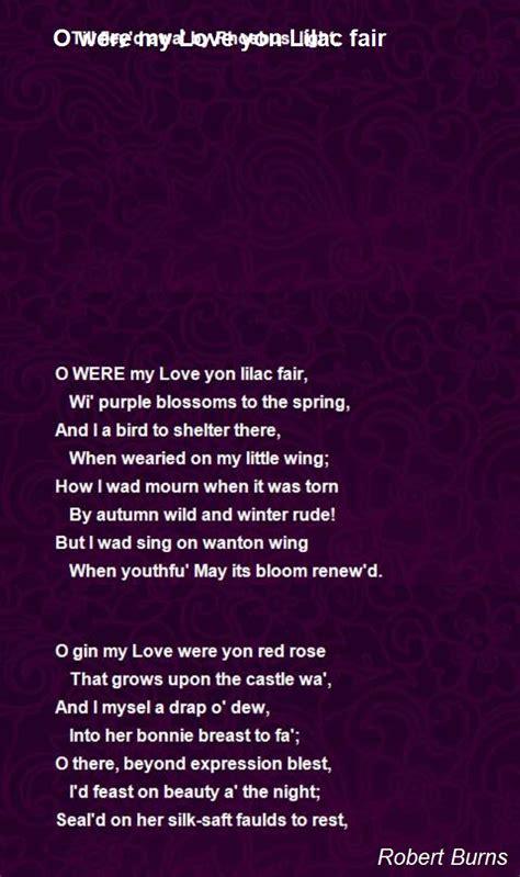 love yon lilac fair poem  robert burns poem