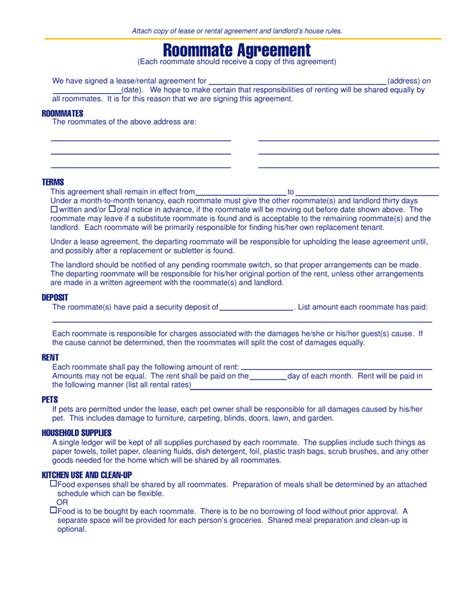 michigan roommate agreement template  eforms