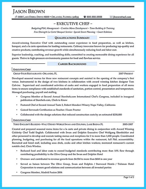 resume objective statement bokeper excellent culinary resume sles to help you approved