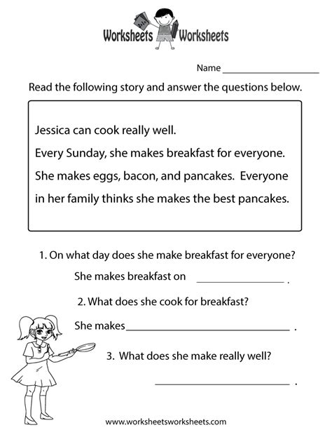 printables free kindergarten reading comprehension