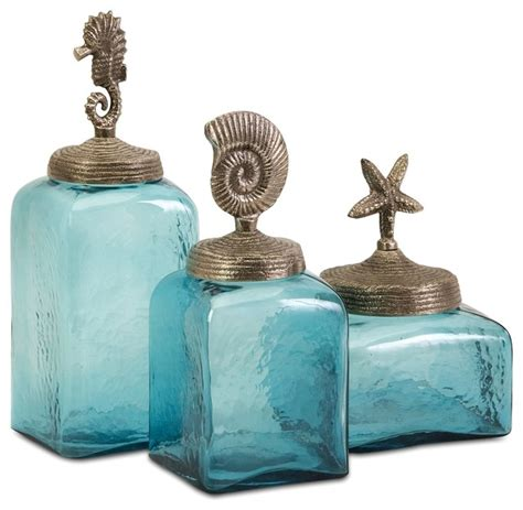 turquoise blue sea life canisters set of 3 beach style