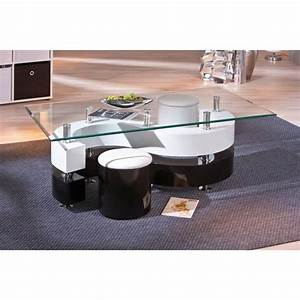 Table Basse Noir : table basse design noir et blanc avec poufs achat vente table basse table basse design noir ~ Teatrodelosmanantiales.com Idées de Décoration