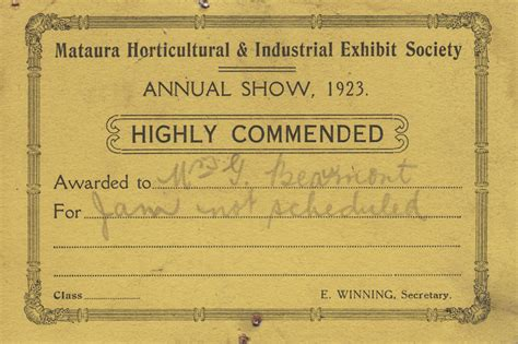 prize cards mataura horticultural society unknown maker