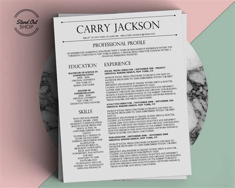 Carry Resume To by Carry Jackson Resume Template Stand Out Shop