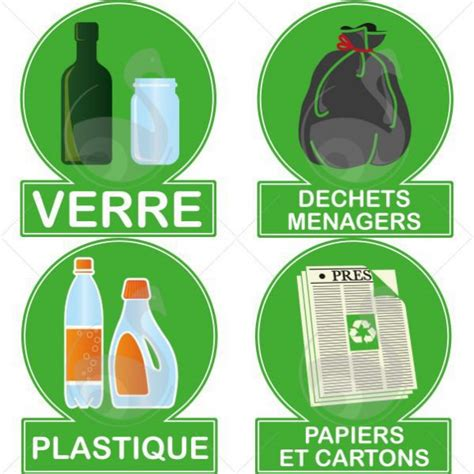 Lots De 4 Autocollants De Recyclage Rollécofr