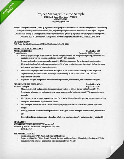 resume implementation project manager sle software