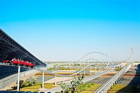 This ferrari themed roller coaster is the fastest in the world. Visitors ride the super-fast roller coaster Formula Rossa at Ferrari World, Abu Dhabi, United ...