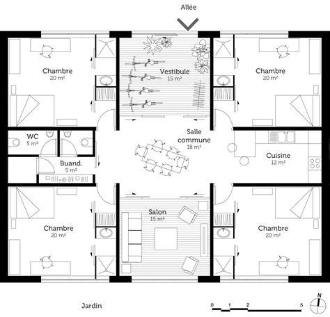 plan maison plain pied 4 chambres avec suite parentale plan maison cubique 150 m ooreka