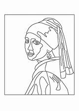 Coloriage Vermeer Fille Jeune Partager Turban sketch template