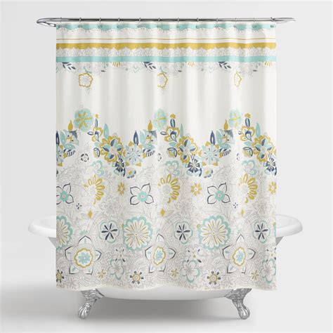 blue and shower curtain blue and green floral drawing shower curtain world market