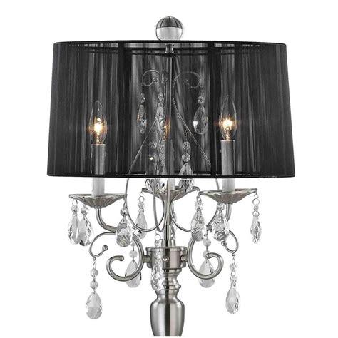 chandelier floor l with black drum shade in