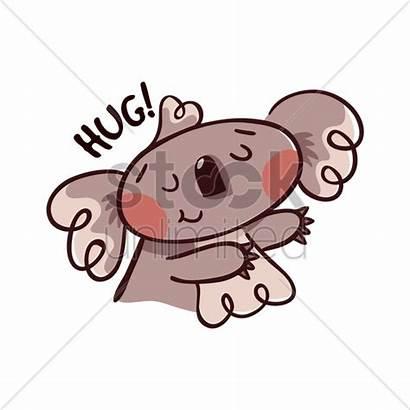 Cartoon Koala Hug Bear Vector Graphic Gesturing