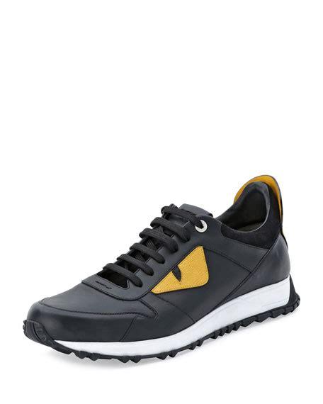 fendi monster runner spike  leather sneaker neiman