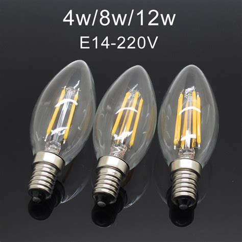 aliexpress buy led filament chip e14 220v dimmable edison candle light bulb 3w 4w 8w 12w