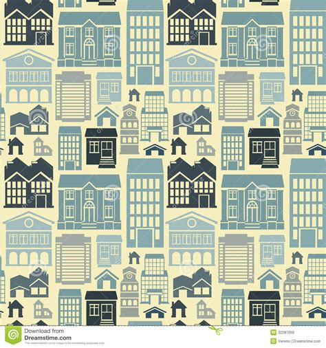 vector seamless pattern  houses  buildings royalty