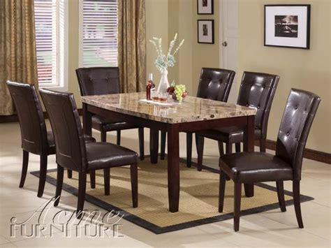 marble dining room set acme furniture granada brown marble top dining table set 17063