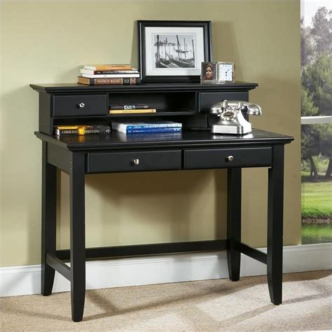 rooms to go computer desk bedford solid wood laptop writing desk with hutch in ebony