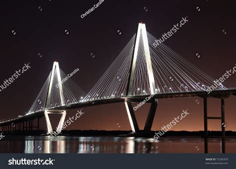 Cooper River Bridge At Night In Charleston, South Carolina