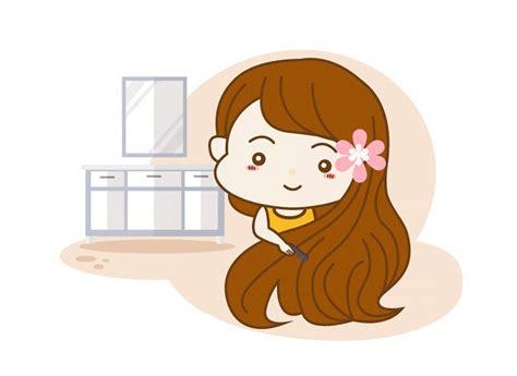 Little girl combing her hair illustration Premium Vector