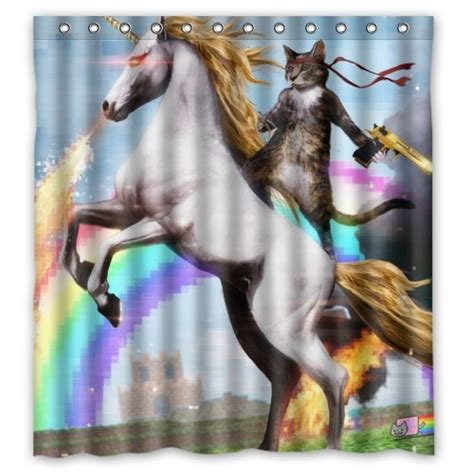 personalized unicorn and cat shower curtain shower