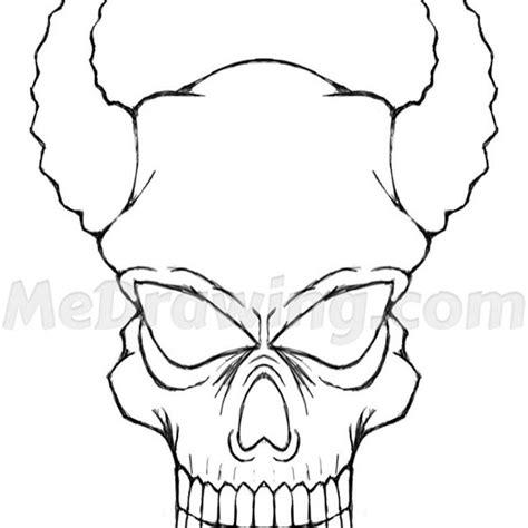 horned devil skull ink drawing