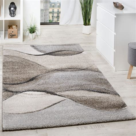 tapis tisse motif vagues en gris beige creme tapis
