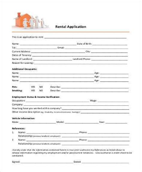 on site rental application form basic rental applications 8 free documents in pdf