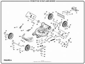 Homelite P1102 18 Volt Lawn Mower Mfg  No  107179001 Parts
