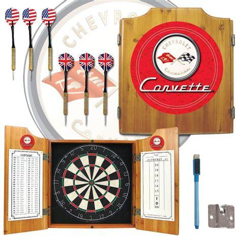 ideal premium wood cabinet 15 game set trademark corvette c1 wood finish dart cabinet set gm7000r