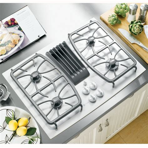 ge profile series pgptnww  gas ceramic glass downdraft cooktop white