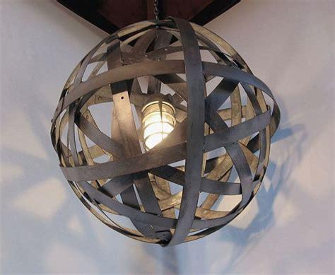 wine barrel light orbits l recycled wine barrel hoops of galvanized steel