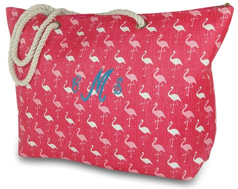 flamingo beach tote bag personalized