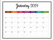 January 2019 Calendar Cute printable yearly calendar