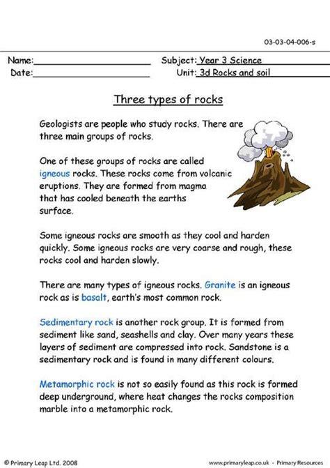 primaryleapcouk  types  rocks worksheet rock