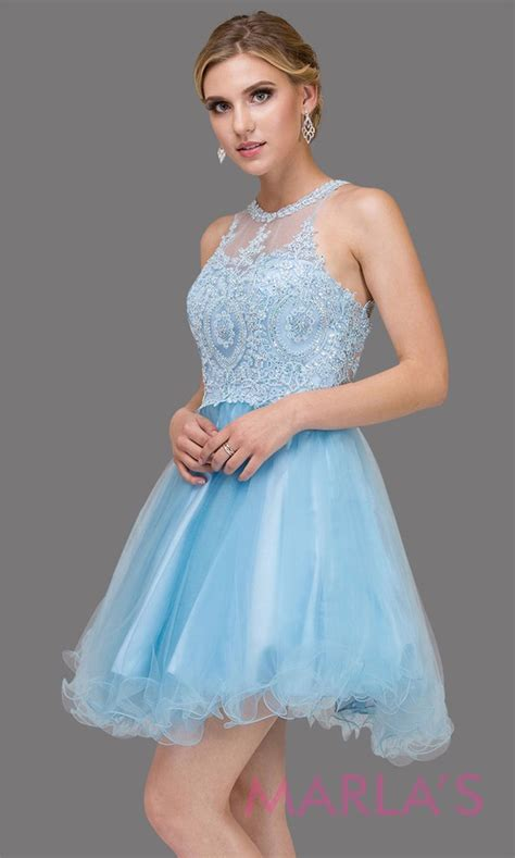 short high neck sky blue grade  grad dress  puffy tulle