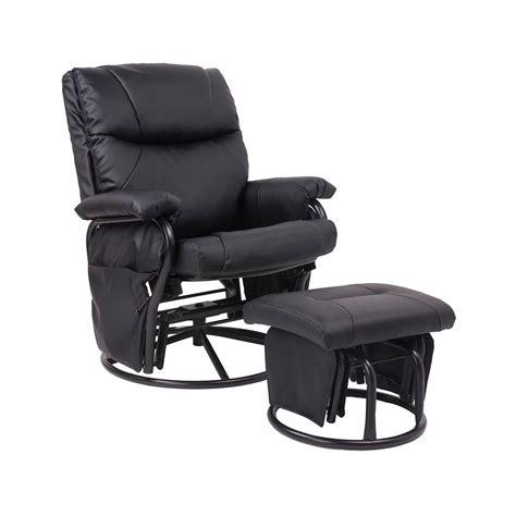 merax ergonomic swivel glider rocking recliner and ottoman