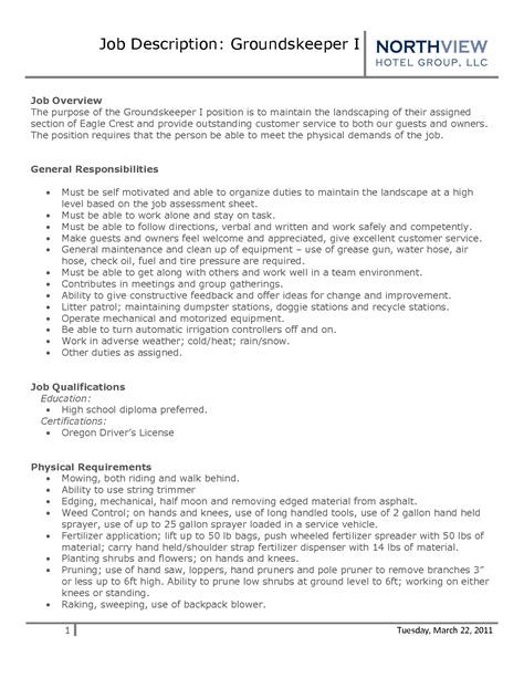 Groundskeeper Resume Exles by Groundskeeper Resume Sle Best Template Collection