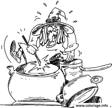 dessin animé de cuisine coloriage dessin d une sorciere qui cuisine dans sa