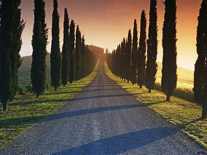 Tuscany Italy Wallpapers Desktop Tuscan Roads Trees