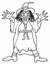 Witch Scary Halloween Coloring Witches sketch template