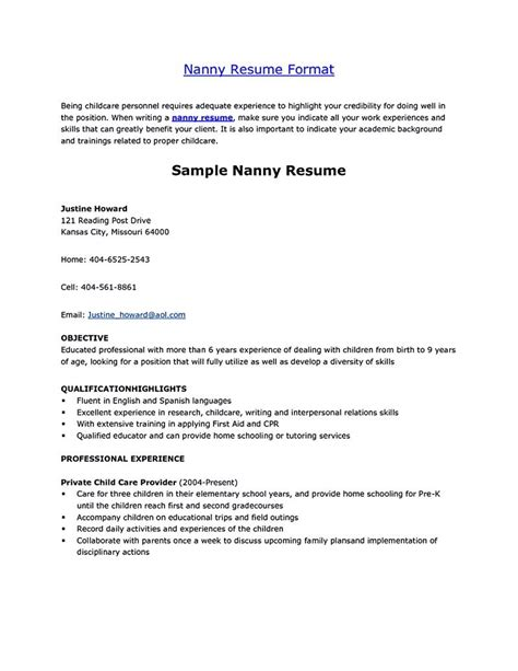 Resume For Nanny by Nanny Resume Nanny Resume Exles Are Made For Those Who