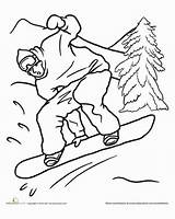 Coloring Snowboard Pages Snowboarding Template Worksheet Sports sketch template