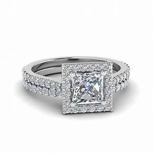 square halo princess cut diamond bridal set in 950 With square diamond wedding ring sets