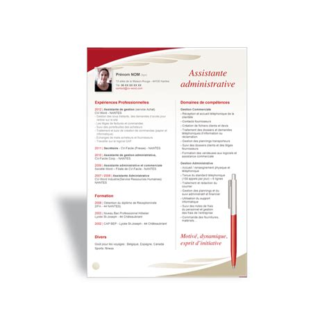Word Modele by T 233 L 233 Charger Mod 232 Le Cv Word Emploi Assistante Administrative