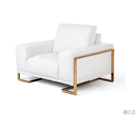 michael amini white rosegold leather chair and